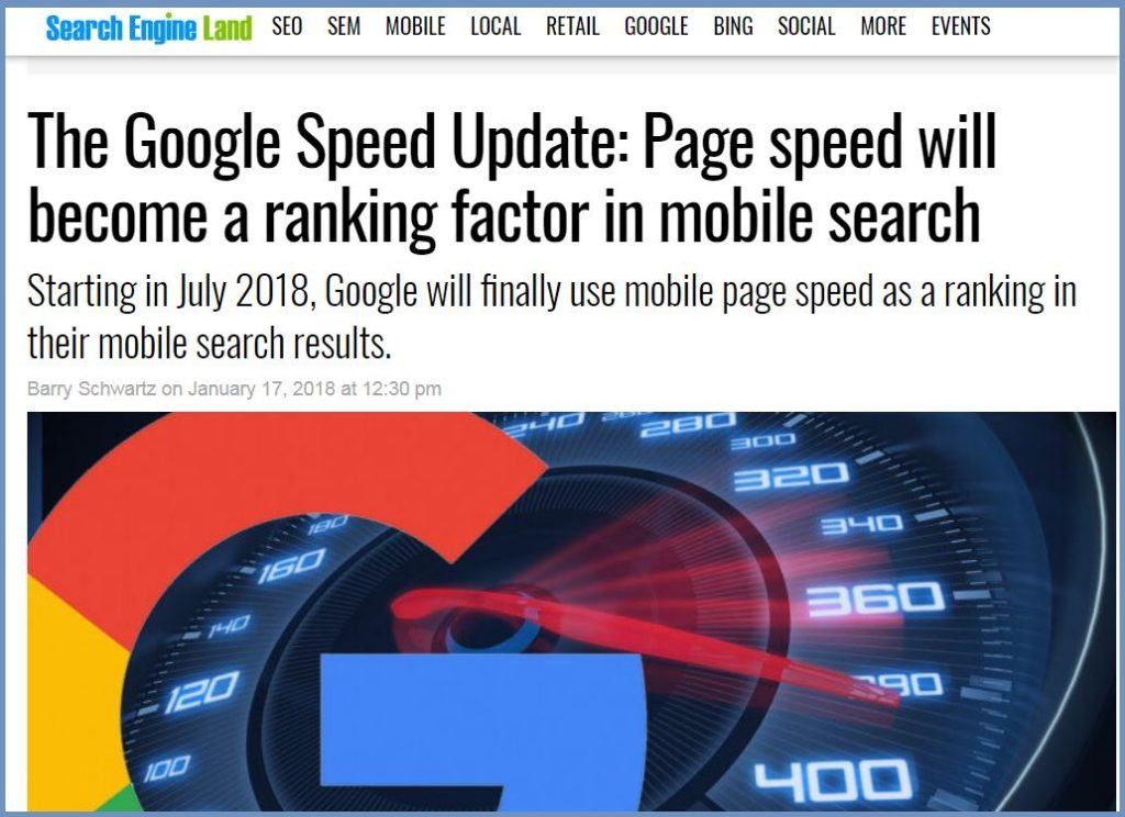 Page speed will become a ranking factor in mobile search