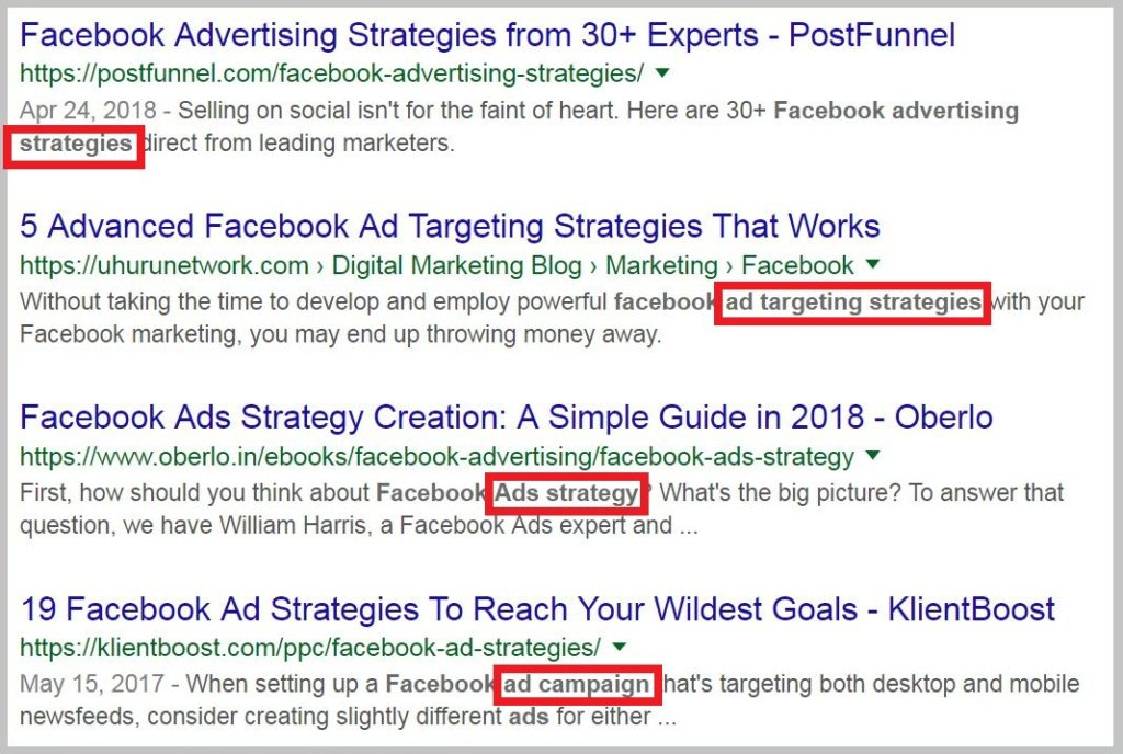 synonyms of your target keyword