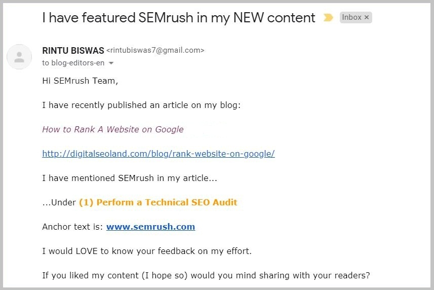 I have featured SEMrush in my NEW content
