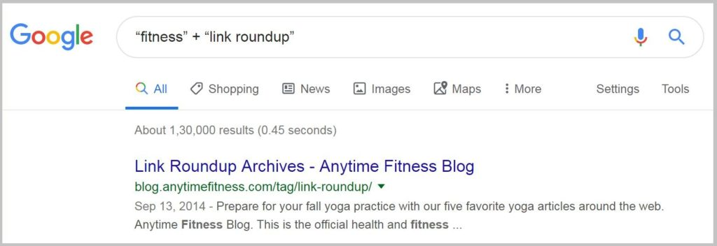 Link Roundup search in Google