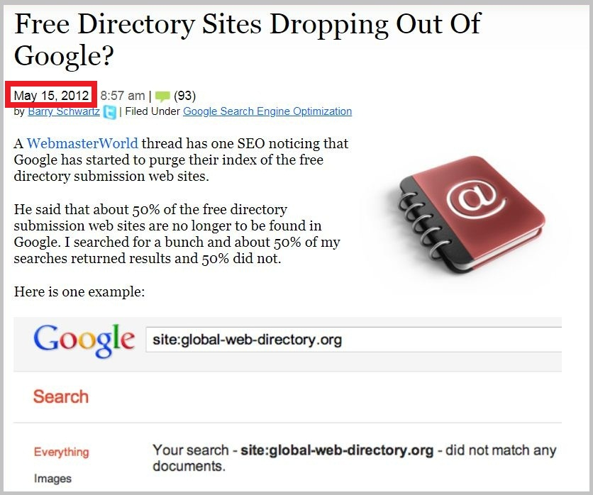 Free Directory Sites Dropping Out Of Google
