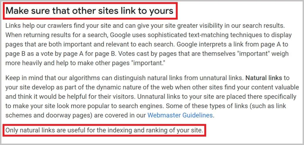 Links help our crawlers
