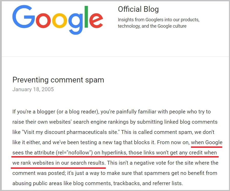 Preventing comment spam - Google