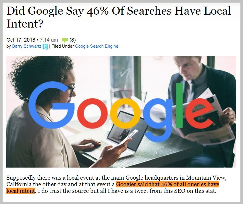 46% Of Searches Have Local Intent