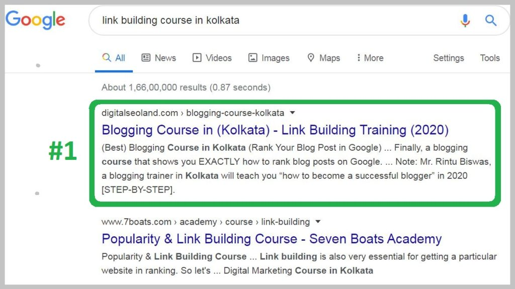 link building course in kolkata Ranking